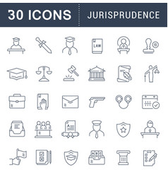 Set line icons jurisprudence vector