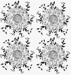 Set of detailed flowers vector image
