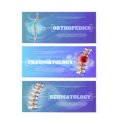 set of medical web banners with human spine vector image