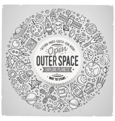 Set of space cartoon doodle objects symbols vector
