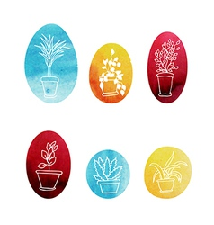 Set of water color houseplants icons vector image