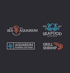 Set retro vintage jellyfish and seafood shrimp vector