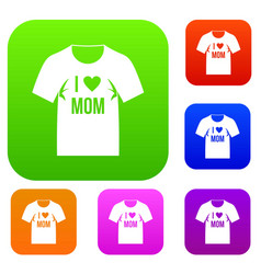 shirt with print set color collection vector image