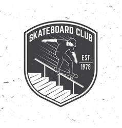 skateboard club badge vector image