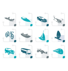 Stylized different kind of transportation vector
