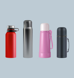 Thermos realistic steel vacuum flask coffee mug vector