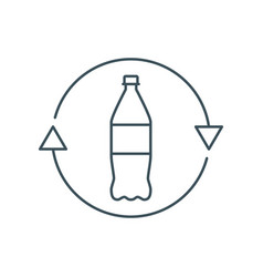 Thin line recycle plastic bottle icon vector