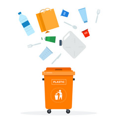 trash orange can for plastic waste flat isolated vector image