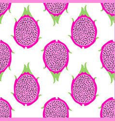 tropical exotic dragon fruit seamless vector image
