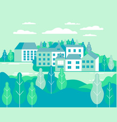 village landscape flat buildings hills lake vector image