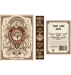 vintage liquor labels template front back and vector image