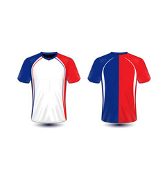 White blue and red layout e-sport t-shirt design vector