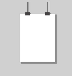white empty paper hanging on wall design vector image
