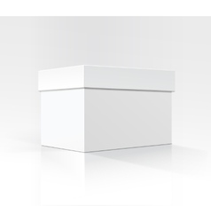 White Horizontal Carton box in Perspective vector