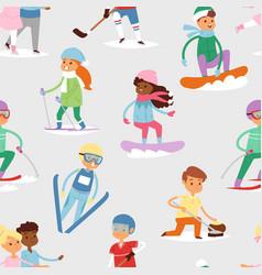 Winter sport kids games cute cartoon vector