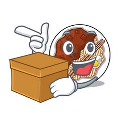 With box jajangmyeon in a cartoon shape vector