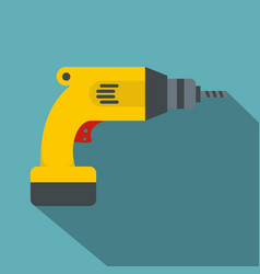 Yellow drill icon flat style vector