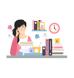young tired businesswoman character sitting at the vector image