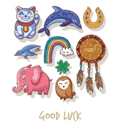 Good Luck Lucky amulets and happy symbols set vector image