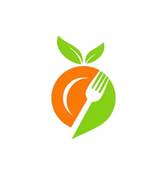 Plate food leaf vegetarian logo vector