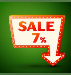 retro billboard with sale 7 percent discounts vector image vector image