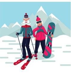 senior adult couple on a ski resort cartoon vector image
