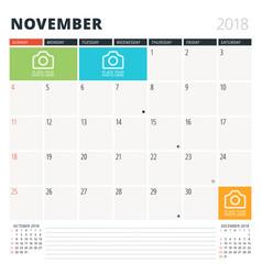 calendar planner for november 2018 design vector image