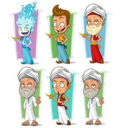 cartoon persian and jinn with lamp character set vector image