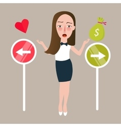 girl select between love or money direction vector image vector image