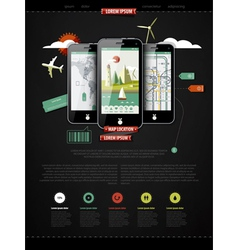 mark up a page with three mobile phones vector image