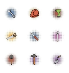 Repair tools icons set pop-art style vector image vector image