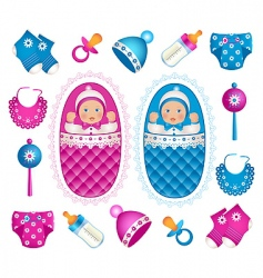 baby twins vector image vector image