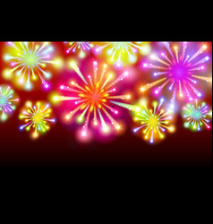 brightly colorful fireworks on twilight background vector image