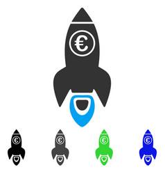 Euro rocket launch flat icon vector