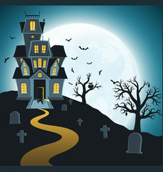 halloween background with tombs trees vector image vector image