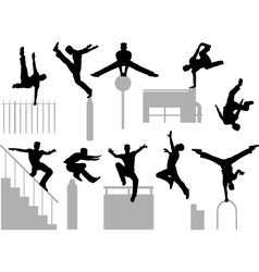 Parkour poses vector image vector image