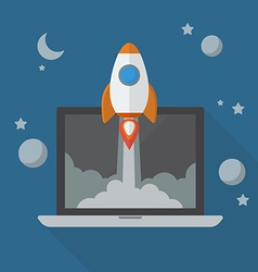 Rocket launching from laptop vector image vector image