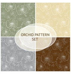 Seamless pattern Orchid background set vector image vector image
