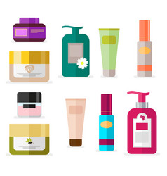 set of tubes and vials cosmetics tools for beauty vector image vector image