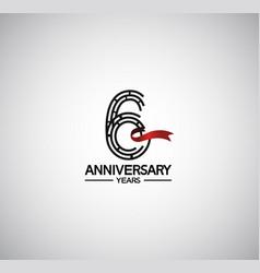 6 years anniversary logotype flat design vector