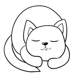 a children coloring bookpage a sleeping cat image vector image