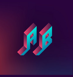 Ab - monogram or logotype isometric 3d letters vector