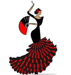 abstract flamenro girl in black and red vector image