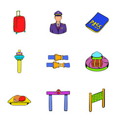 Airplane icons set cartoon style vector