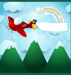 airplane over the mountain vector image
