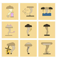 Assembly flat icons natural disaster tornado vector