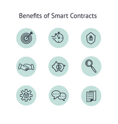 Benefits smart contract icons set collection vector