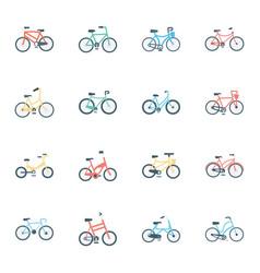 Bikes flat icons vector