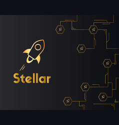 Blockchain stellar style on dark background vector