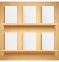 Bookshelf and Books with Blank Covers vector